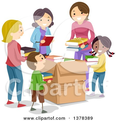 Clipart of Chidlren and Women Putting Donated Books in Boxes - Royalty Free Vector Illustration by BNP Design Studio