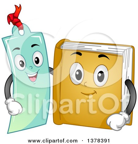 Clipart of a Book and Bookmark Embracing - Royalty Free Vector Illustration by BNP Design Studio