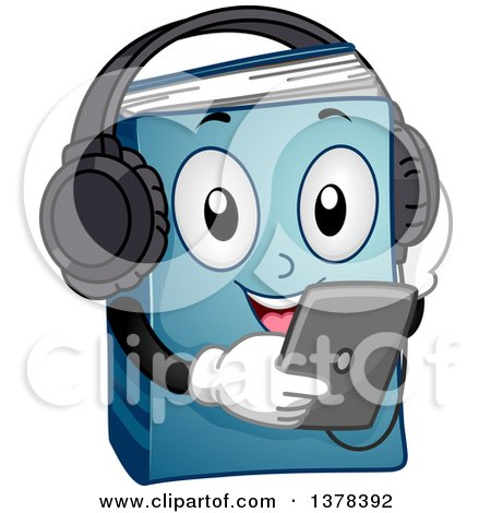 Clipart of a Blue Book Character Listening to an Audio Book from a Tablet - Royalty Free Vector Illustration by BNP Design Studio