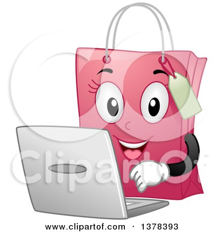 Pink Female Shopping Bag Mascot Using a Laptop Computer Posters, Art Prints