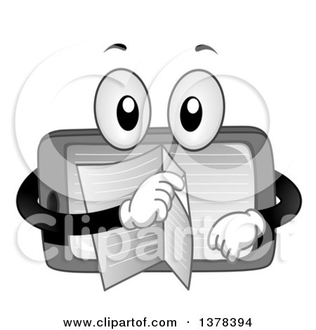 Clipart of a Tablet Computer Character Turning Pages of an Ebook - Royalty Free Vector Illustration by BNP Design Studio