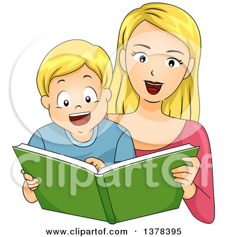 Clipart of a Blond White Mother Reading a Story Book to Her Son - Royalty Free Vector Illustration by BNP Design Studio