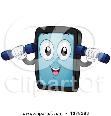Clipart of a Happy Tablet Computer Mascot Woring out with Dumbbells - Royalty Free Vector Illustration by BNP Design Studio