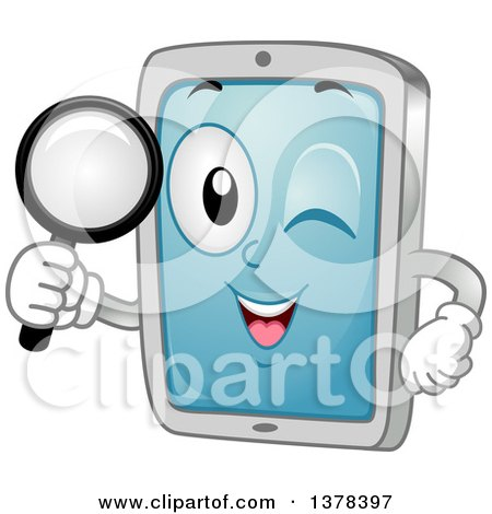 Clipart of a Happy Tablet Computer Mascot Searching with a Magnifying Glass - Royalty Free Vector Illustration by BNP Design Studio