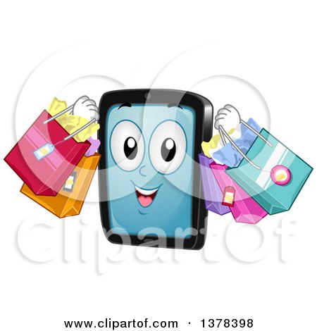 Clipart of a Tablet Computer Mascot Carrying Shopping Bags - Royalty Free Vector Illustration by BNP Design Studio