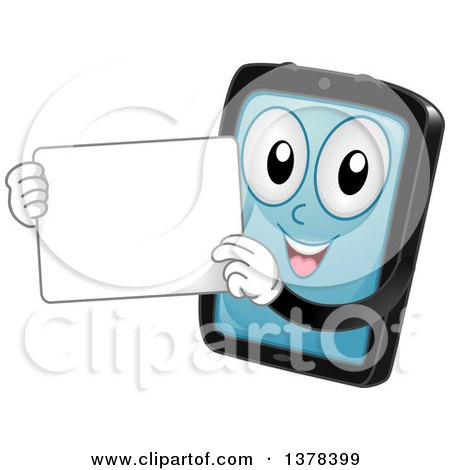 Clipart of a Happy Tablet Computer Mascot Holding a White Board - Royalty Free Vector Illustration by BNP Design Studio