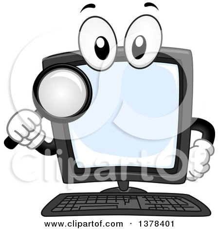 Clipart of a Desktop Computer Mascot Holding a Magnifying Glass - Royalty Free Vector Illustration by BNP Design Studio