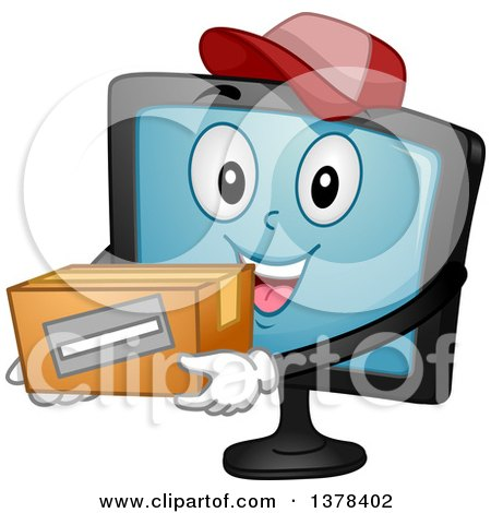 Clipart of a Happy Monitor Screen Character Holding a Box - Royalty Free Vector Illustration by BNP Design Studio