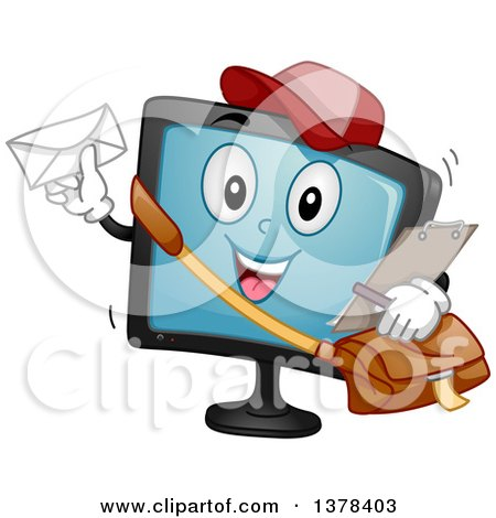 Clipart of a Happy Monitor Screen Character Mail Man - Royalty Free Vector Illustration by BNP Design Studio