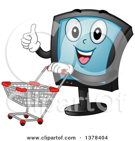 Clipart of a Happy Monitor Screen Character Pushing a Shopping Cart - Royalty Free Vector Illustration by BNP Design Studio