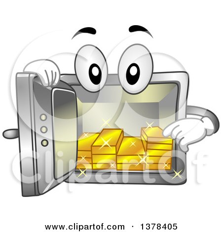 Clipart of a Vault Mascot Showing Gold Bars on the Inside - Royalty Free Vector Illustration by BNP Design Studio
