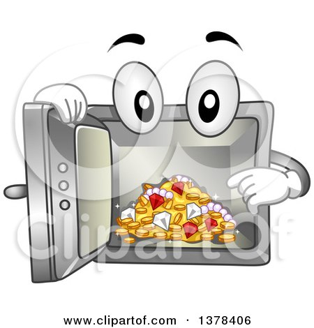 Clipart of a Vault Mascot Showing Treasures on the Inside - Royalty Free Vector Illustration by BNP Design Studio