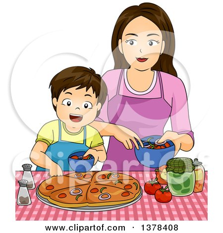 Clipart of a Brunette Caucasian Boy Making Pizza with His Mom - Royalty Free Vector Illustration by BNP Design Studio