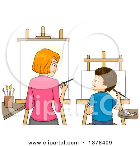 Clipart of a Red Haired White Mother and Brunette Son Painting Art Side by Side - Royalty Free Vector Illustration by BNP Design Studio