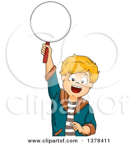 Clipart of a Happy White Boy Holding up a Paddle to Answer a Question - Royalty Free Vector Illustration by BNP Design Studio