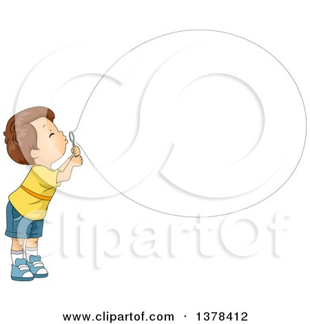 Clipart of a Brunette White Boy Blowing a Big Bubble - Royalty Free Vector Illustration by BNP Design Studio