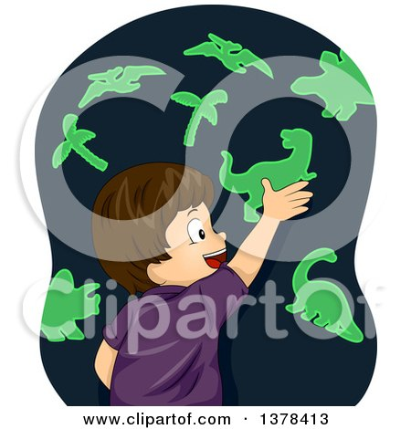Clipart of a Happy Brunette White Boy Playing with Glow in the Dark Dinosaur Stickers - Royalty Free Vector Illustration by BNP Design Studio