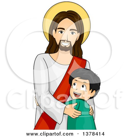 Clipart of a Happy Boy Hugging Jesus Christ - Royalty Free Vector Illustration by BNP Design Studio