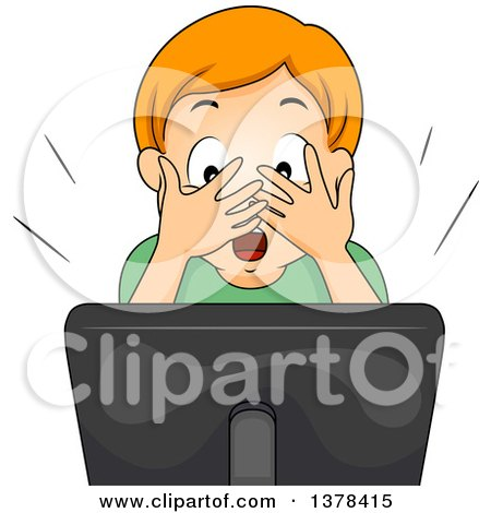 Clipart of a Red Haired White Boy Covering His Eyes and Streaming a Video Online - Royalty Free Vector Illustration by BNP Design Studio