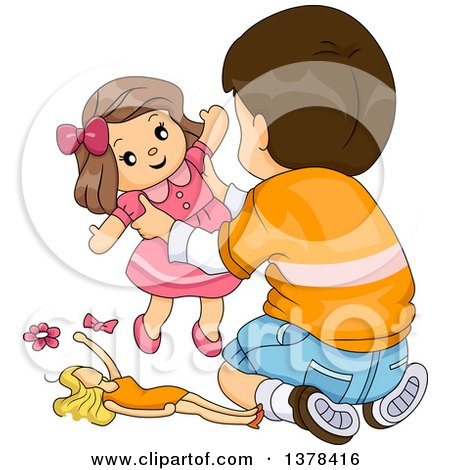 Clipart of a Brunette White Boy Playing with Toy Dolls - Royalty Free Vector Illustration by BNP Design Studio