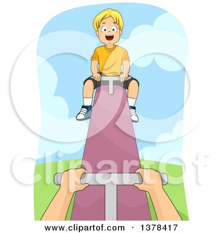 Clipart of a Happy Blond White Boy up the High End of a See Saw - Royalty Free Vector Illustration by BNP Design Studio