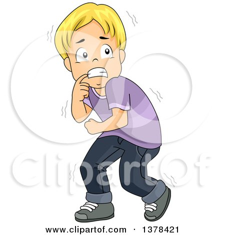 Clipart of a Scared Blond Boy Cowering - Royalty Free Vector Illustration by BNP Design Studio