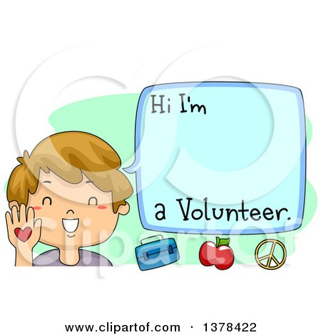 Clipart of a Happy Brunette White Boy Introducing Himself As a Volunteer - Royalty Free Vector Illustration by BNP Design Studio
