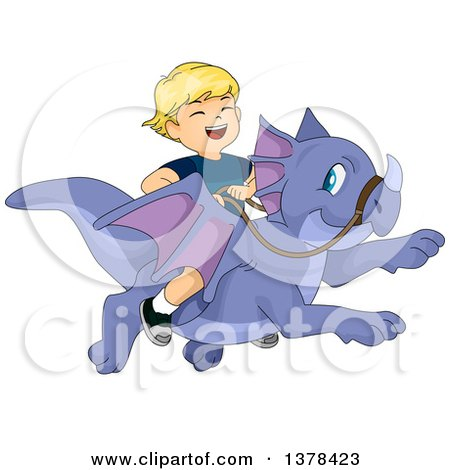 Clipart of a Blond White Boy Laughing and Riding a Flying Dragon - Royalty Free Vector Illustration by BNP Design Studio