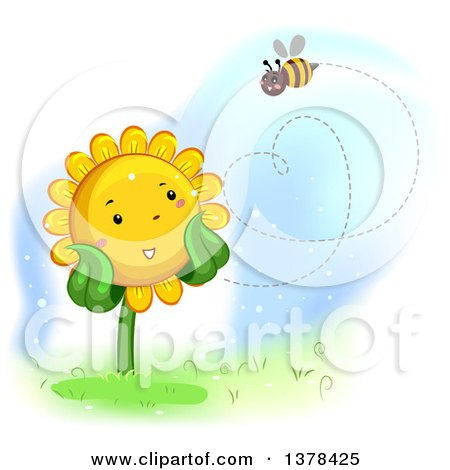 Clipart of a Happy Sunflower Watching a Bee Flyin in the Shape of a Heart - Royalty Free Vector Illustration by BNP Design Studio