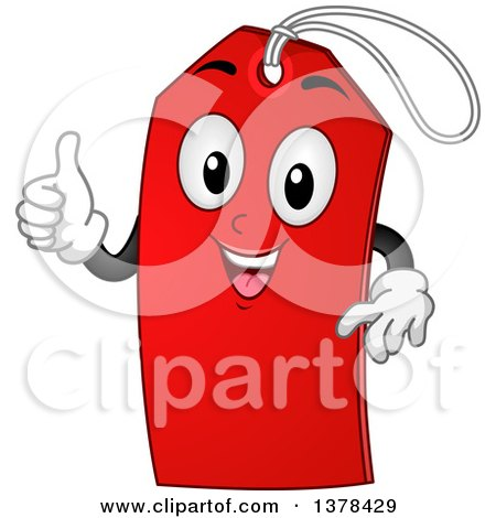 Clipart of a Red Sale Tag Mascot Giving a Thumb up - Royalty Free Vector Illustration by BNP Design Studio