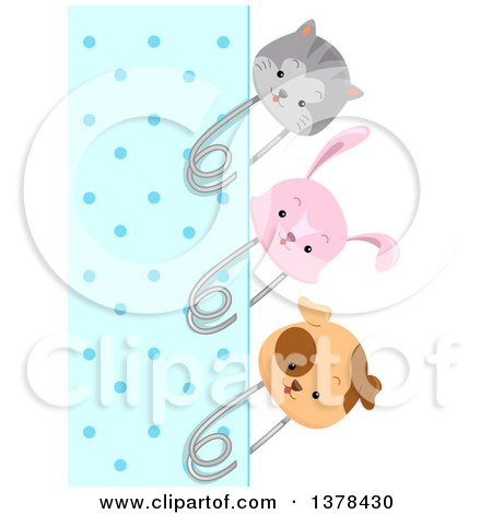 Clipart of a Blue Polka Dot Paper Bordered with Cat, Rabbit and Dog Pins - Royalty Free Vector Illustration by BNP Design Studio