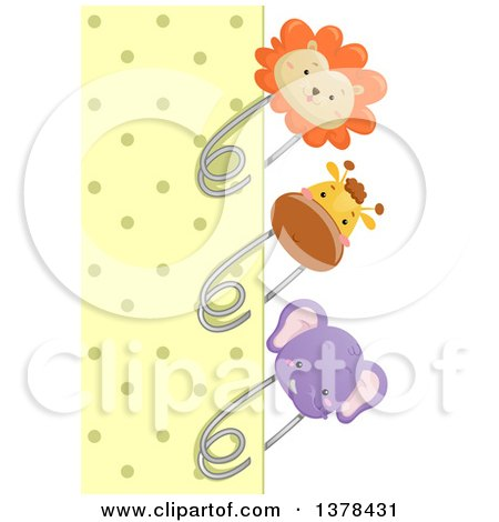 Clipart of a Yellow Polka Dot Paper Bordered with Lion, Giraffe and Elephant Pins - Royalty Free Vector Illustration by BNP Design Studio