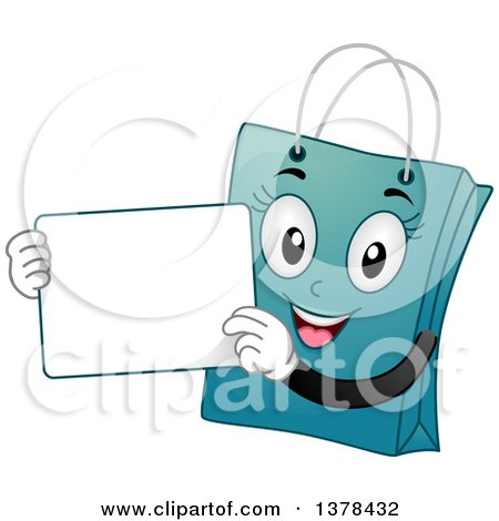 Clipart of a Blue Female Shopping Bag Mascot Holding a White Board - Royalty Free Vector Illustration by BNP Design Studio
