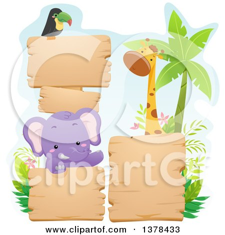 Clipart of Blank Wood Signs with a Toucan, Elephant and Giraffe - Royalty Free Vector Illustration by BNP Design Studio