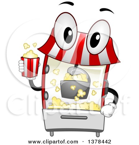 Clipart of a Popcorn Maker Machine Holding a Bucket - Royalty Free Vector Illustration by BNP Design Studio