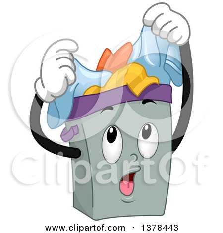 Clipart of a Laundry Hamper Full of Dirty Clothes - Royalty Free Vector Illustration by BNP Design Studio
