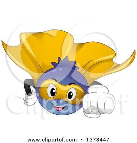 Clipart of a Cartoon Blueberry Super Hero Flying - Royalty Free Vector Illustration by BNP Design Studio