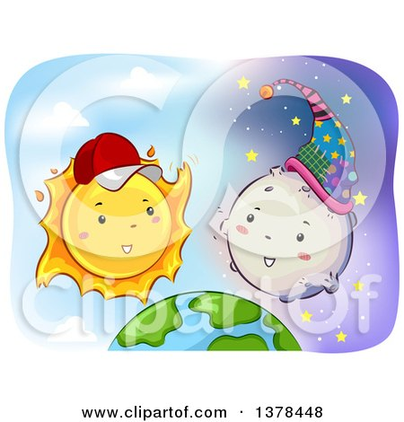 Clipart of a Happy Sun Wearing a Baseball Cap and Talking to the Moon over Earth - Royalty Free Vector Illustration by BNP Design Studio