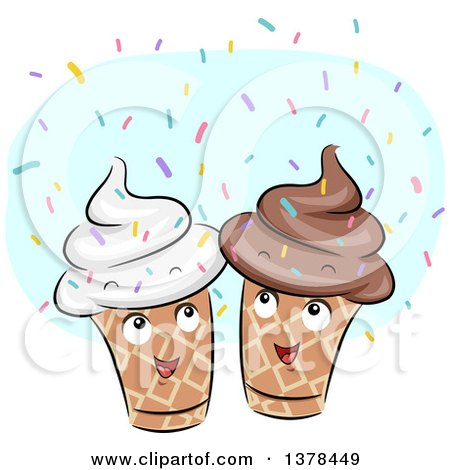 Clipart of Happy Ice Cream Cones with Sprinkles - Royalty Free Vector Illustration by BNP Design Studio