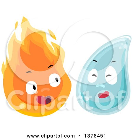 Clipart of Flame and Water Characters - Royalty Free Vector Illustration by BNP Design Studio