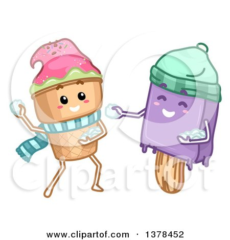 Clipart of Ice Cream Cone and Popsicle Characters Throwing Snowballs - Royalty Free Vector Illustration by BNP Design Studio