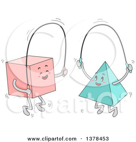 Clipart of a Square and Pyramid Jumping Rope Together - Royalty Free Vector Illustration by BNP Design Studio