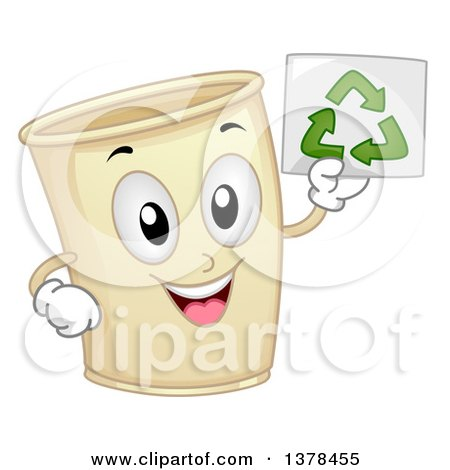 Clipart of a Happy Paper Cup Mascot Holding up a Recycle Paper - Royalty Free Vector Illustration by BNP Design Studio