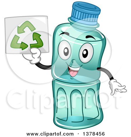 Clipart of a Happy Plastic Water Bottle Mascot Holding up a Recycle Sign - Royalty Free Vector Illustration by BNP Design Studio
