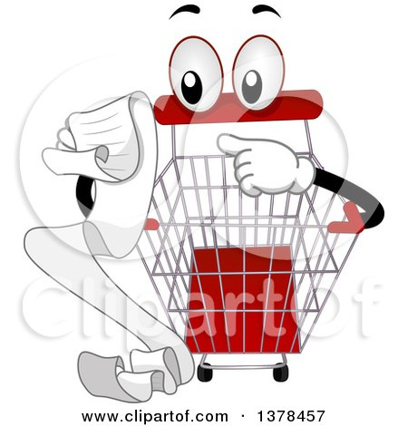 Clipart of a Shopping Cart Mascot Reading a List - Royalty Free Vector Illustration by BNP Design Studio