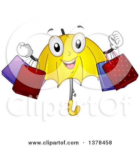 Clipart of a Happy Umbrella Character Holding Shopping Bags - Royalty Free Vector Illustration by BNP Design Studio