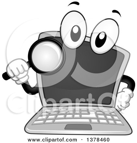 Clipart of a Laptop Computer Mascot Holding a Magnifying Glass - Royalty Free Vector Illustration by BNP Design Studio
