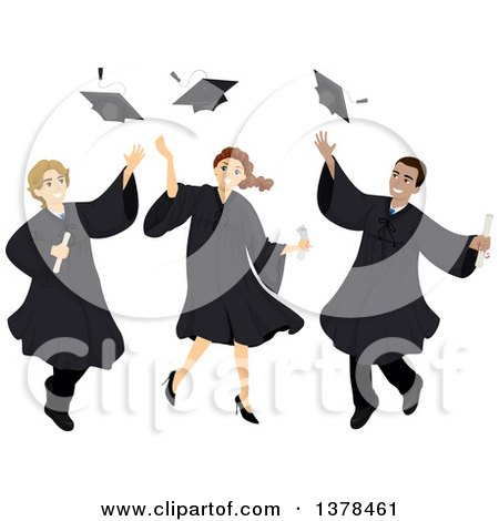 Clipart of Male and Female College Graduates Tossing up Their Caps - Royalty Free Vector Illustration by BNP Design Studio