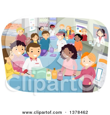 Clipart of Vendors Selling Products at a Busy Bazaar - Royalty Free Vector Illustration by BNP Design Studio