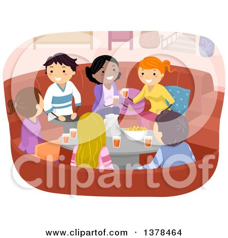 Clipart of a Group of Young Adults Talking and Sharing Snacks and Beverages in a Living Room - Royalty Free Vector Illustration by BNP Design Studio